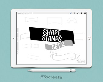 Procreate Shapes Stamp Pack 2, 18 brush stamps