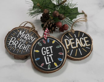 Hand Lettered and Painted Wood Slice Christmas Ornament Set