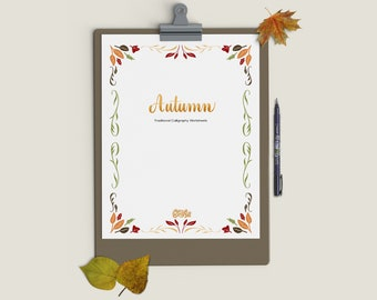 Autumn Traditional Calligraphy Workbook Printable PDF