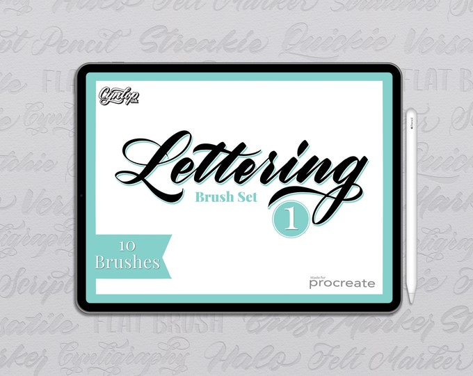 Featured listing image: Procreate Lettering Brush Pack #1 :  10 Brushes