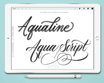 Procreate Brush : Aqualine 2 Brush Lettering Set