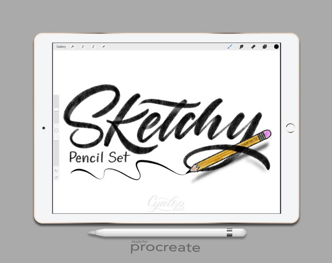 Featured listing image: Procreate Brush Sketchy Pencil Brush Set