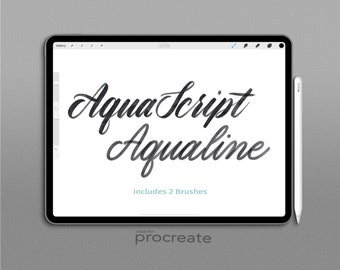Procreate Brush : Aqualine 2 Brush Lettering Set