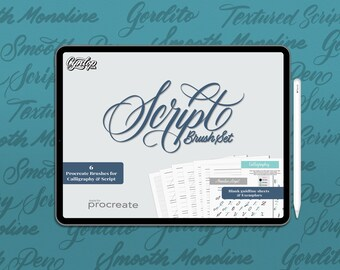 NEW! Script Procreate Brush Pack: 6 Brushes, Blank Guideline, 2 Exemplars