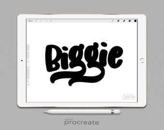 Procreate Brush Biggie Brush, Fat Procreate Brush, Lettering Brush, iPad lettering, Sign painting procreate , iPad Lettering