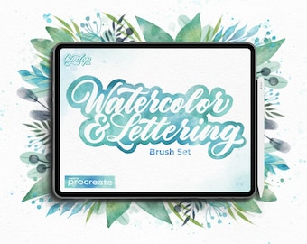 Procreate Watercolor & Lettering Brush Set