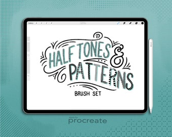 Procreate Halftone and Pattern Brushes Set, 42 Procreate brushes