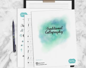 Traditional Calligraphy Workbook Printable PDF