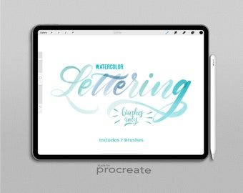 Procreate Brush Watercolor LETTERING Set
