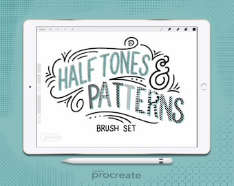 Procreate Halftone and Pattern Brushes Set, 44 Procreate Brushes, Halftones Brushes, Pattern Brushes,  Procreate Brushes, iPad lettering
