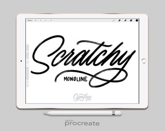 Procreate Brush : Scratchy Monoline Brush