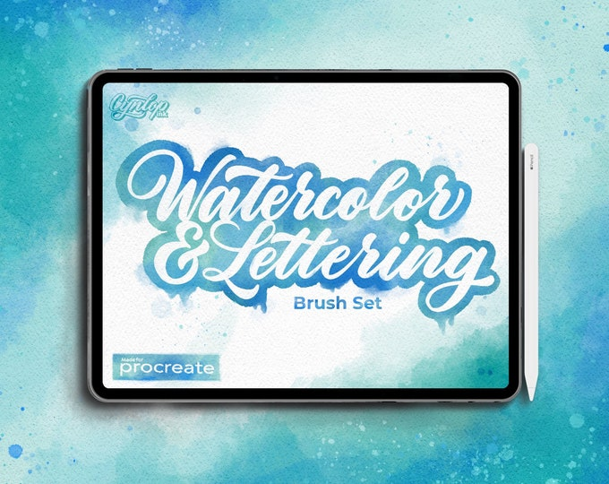 Featured listing image: Procreate Watercolor & Lettering Brush Set