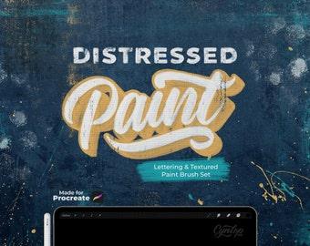 NEW!! Distressed Paint Brush Set for Procreate, digital paint set