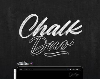 Chalk Procreate Lettering Brushes and Chalkboard background