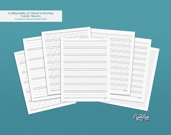Printable Calligraphy & Hand Lettering Guidesheets | Blank Practice Guide sheets