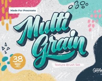 Procreate MultiGrain Texture Brush Set, 38 Texture Procreate Brushes