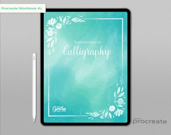 Calligraphy Workbook #1 for Procreate | Procreate Brush, Procreate iPad Lettering, Hand Lettering Calligraphy practice sheets