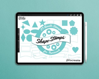 Procreate Brush Shapes Stamp Pack, 37 brush stamps