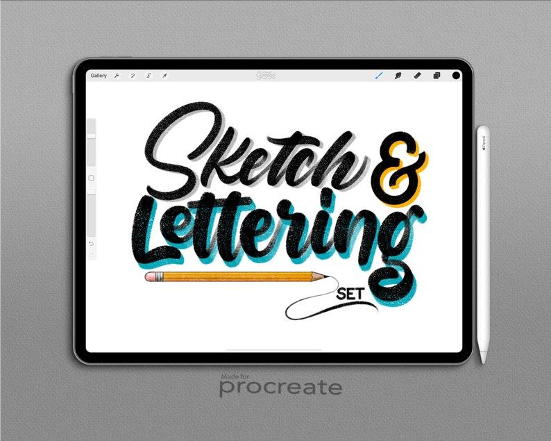 Procreate Sketch & Lettering Pencil Brush Set, Drawing Pencil Brush,  Lettering Brush, iPad lettering, Procreate Pencil, iPad Lettering