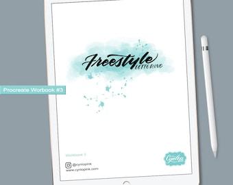 Freestlye Lettering Workbook #3 |  iPad Hand Lettering Workbook | Procreate ipad Lettering, iPad lettering, lettering practice sheets