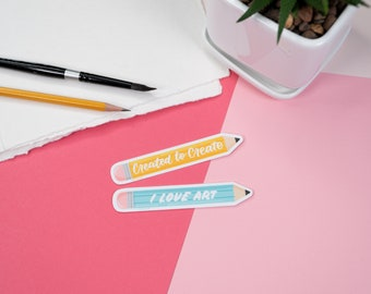 Pencil Artist Sticker, Created to Create, I Love Art, Waterproof Sticker