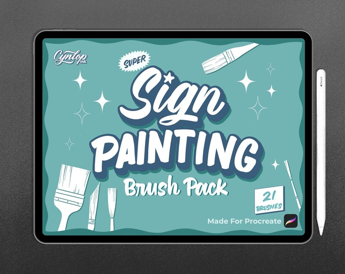 Featured listing image: Procreate Brush : Sign Painting Pack