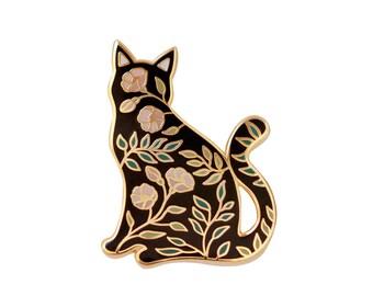 Cat enamel pin, cat pin, floral pin, floral pin, cat lover gift, flowers, cat enamel pin, lapel pin, badge, enamel, glow in the dark, cute
