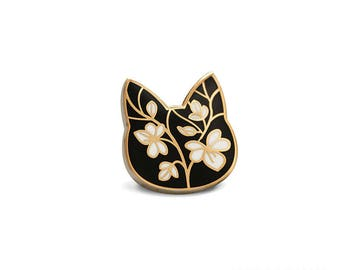 Floral Cat Enamel Pin