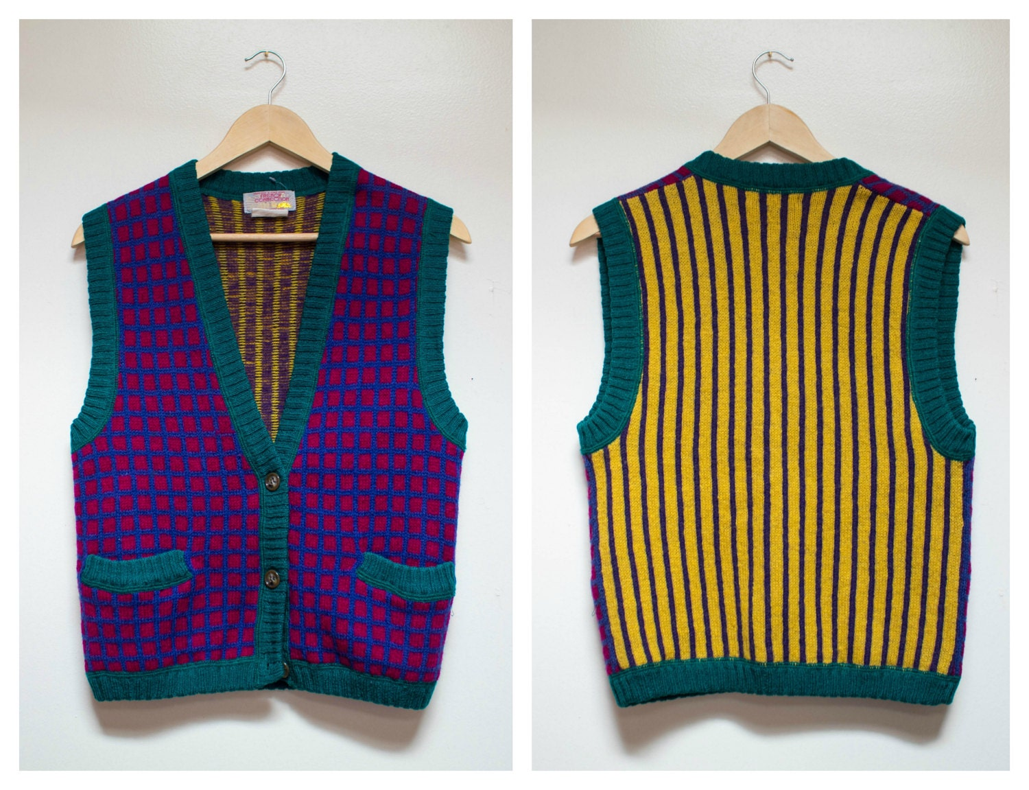 Vintage 100% Wool Vest French Connection Size S Striped Plaid Vest Mustard Purple Kooky Sweater Party Sweater Made in Hong Kong