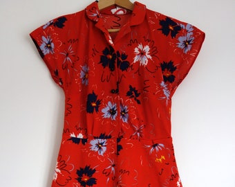 Beautiful Vintage 1970s Bright Red Floral Secretary dress 12 14 M