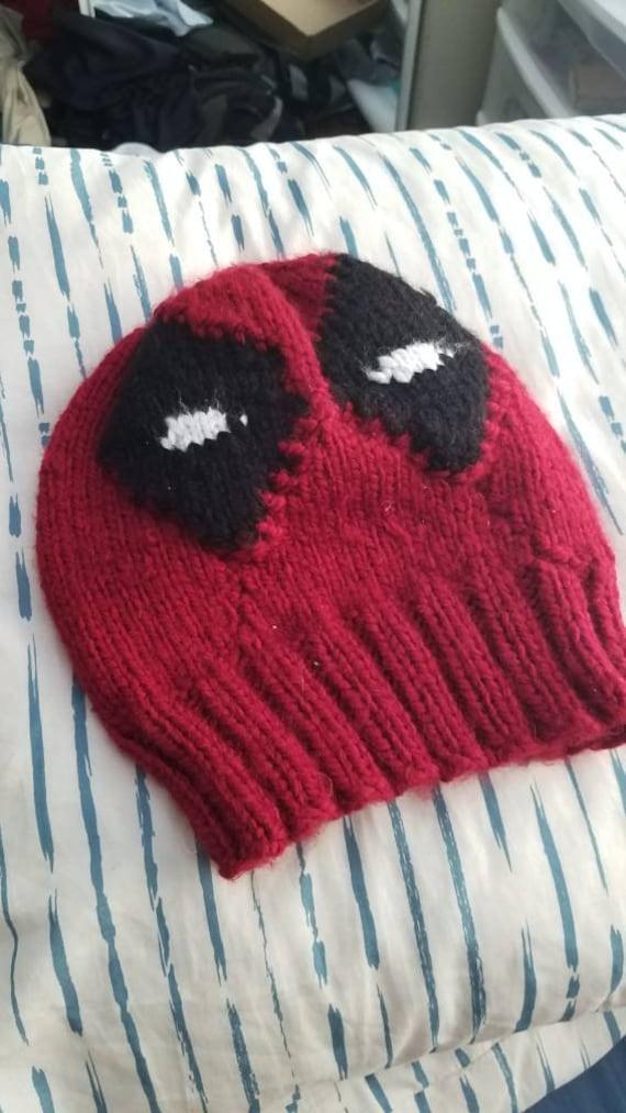 Hand Knit Deadpool Mask Hat Etsy