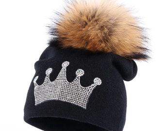 e9ba0132142 Tiara - Fur Pom pom hat - kids