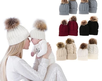 Single fur pom hat - Toddler Kids Girl   Boy Baby Infant Winter Warm  Crochet Knit Hat Beanie Cap - Adult and Kid Sizes 6ddfd4cd8081