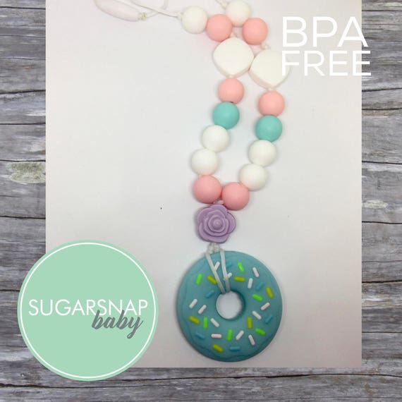 Silicone Teething Necklace Chewlery Donut Necklace For Kid