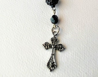 Black Crystal and Rhinestone Anglican Rosary / Protestant Rosary / Prayer Beads