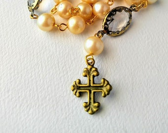 Pearl and Antique Gold Anglican Rosary / Protestant Rosary / Prayer Beads