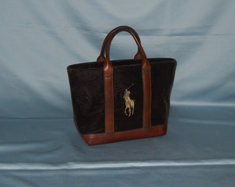 9432a0cc55f Authentic vintage Ralph Lauren handbag - velvet and genuine leather