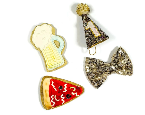 PARTY PACK! Party Hat and Bow Tie and Birthday Treat Cookie Set || Dog Gift || Dog Party || Birthday