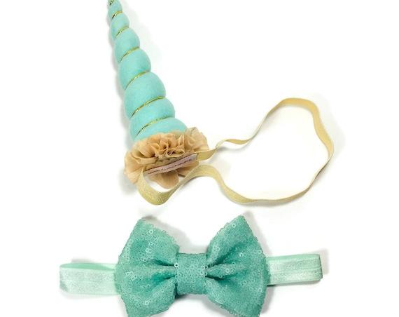Dog Unicorn Horn and Bow || Dog Unicorn Headband || Unicorn Headband for Dog || Pet Unicorn Costume || Dog Unicorn || Dog Birthday