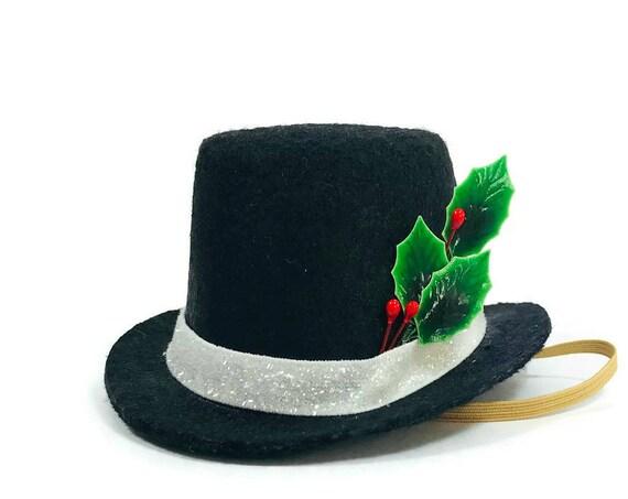 Tiny Snowman Hat || Dog Snowman Hat || Dog Tophat || Animal Christmas || Pet Holiday