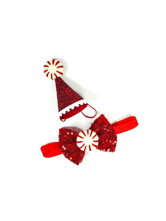 Christmas Hat and Bow Tie || Peppermint Dog Christmas Outfit Costume || Animal Pet Holiday Outfit