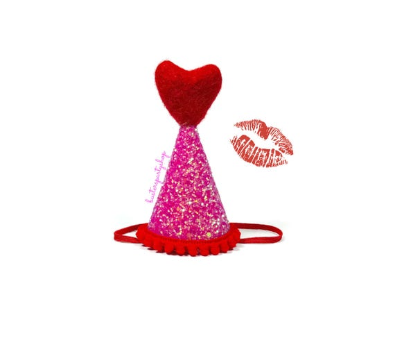 Dog Party Hat || February Birthday || Pink and Red || Love
