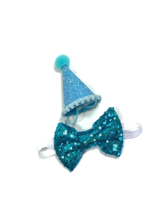 Dog Birthday Hat and Large Bow Tie || Dog Gift || Pet Birthday Party Outfit || Pet Puppy Cat Kitten || Kitty Pig Birthday Crown |
