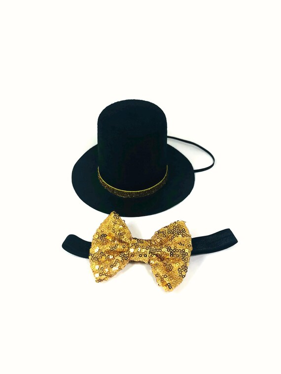 Dog Top Hat and Bow Tie || Dog Gift || Pet Birthday Party Outfit || Pet Puppy Cat Kitten || Kitty Pig Birthday Crown |