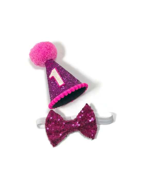 Large Dog Party Hat and Bow Tie || Large Party Hat | Pink Hat Birthday || Busters Party Shop || Dog Collar || Dog Costume