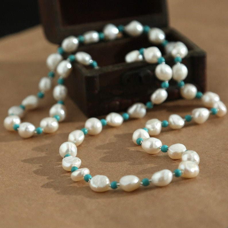 Turquoise necklace Pearl necklace chinese vintage necklace