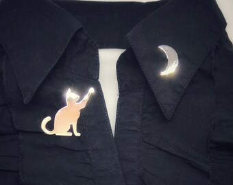 Playing Moon Cat Silver Metal Pin Cute Birthday Gift For A Lovers Idea Pinstars