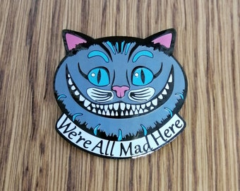Limited Edition Mad Hatters Tea Party Party Badge Gift Ca and Kitten Lover Gift Ideas Alice in Wonderland Soft Enamel Pin of Cheshire Cat