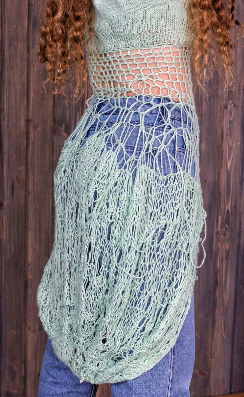 one copy handmade tunic \u0421reative clothes Wool Chaotic Kniting Tunic Long Wool Top Size M