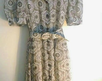 Tea Dress w/ Sheer Cap Sleeves UK Size 12 or S-M USA